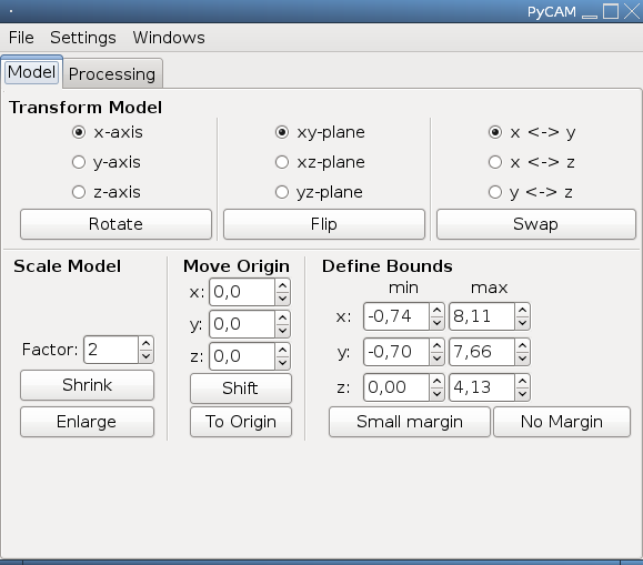 Screenshot of the Model Operations