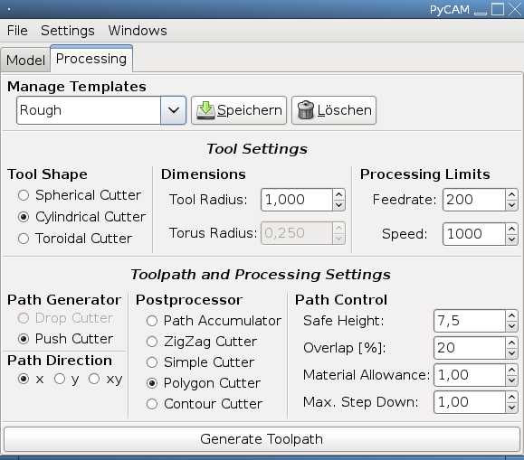 Screenshot of Processing Settings